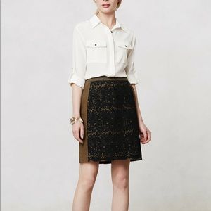 Maeve Rione olive green lace skirt